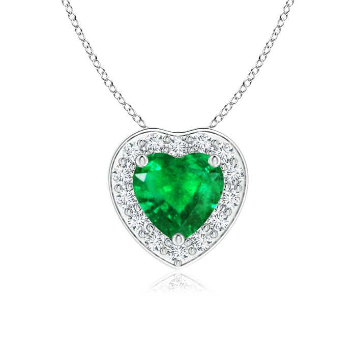 Pave-Set Diamond Halo Heart Shaped Emerald Pendant - Angara.com