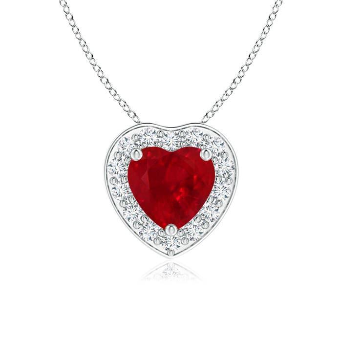 Angara Channel-Set Ruby Flower Pendant with Diamond Halo 2npvKyQ