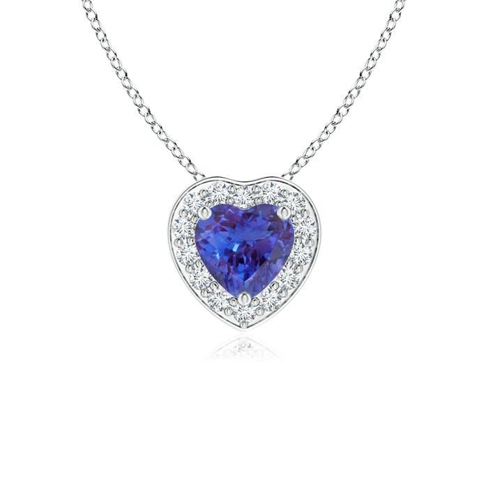 Natural diamond halo heart shaped tanzanite pendant 14k white gold natural diamond halo heart shaped tanzanite pendant 14k aloadofball Gallery