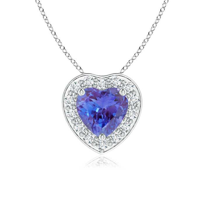 Pave-Set Diamond Halo Heart Shaped Tanzanite Pendant - Angara.com