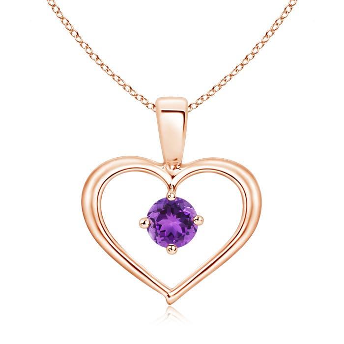 Solitaire Round Amethyst Open Heart Pendant - Angara.com