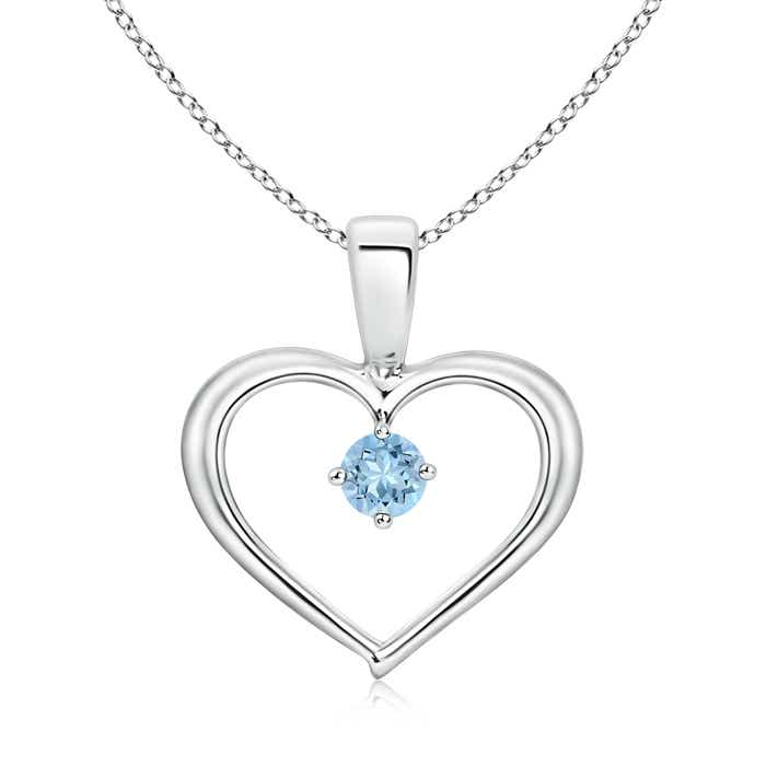 Solitaire round aquamarine open heart pendant necklace 14k gold 18 solitaire round aquamarine open heart pendant necklace 14k aloadofball Gallery