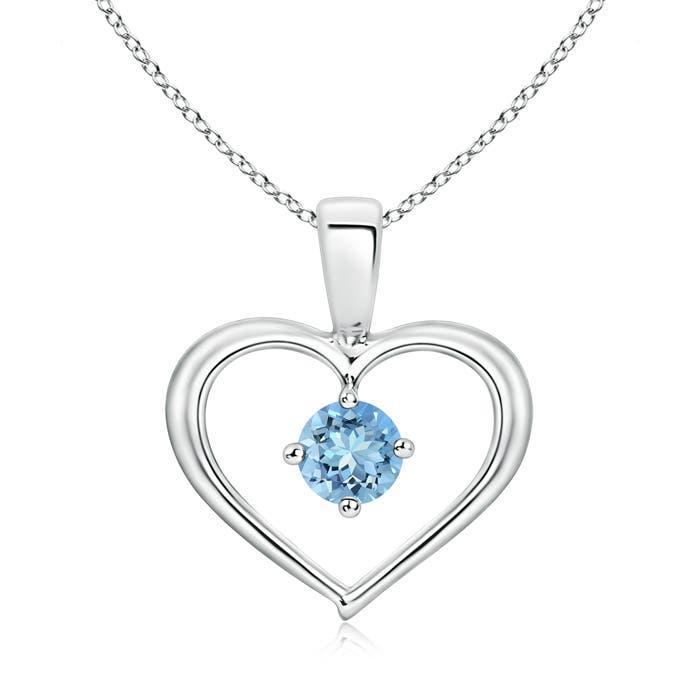 Solitaire Round Aquamarine Open Heart Pendant - Angara.com