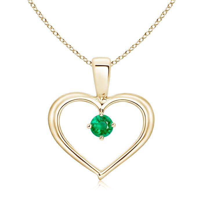 Solitaire Round Emerald Open Heart Pendant - Angara.com