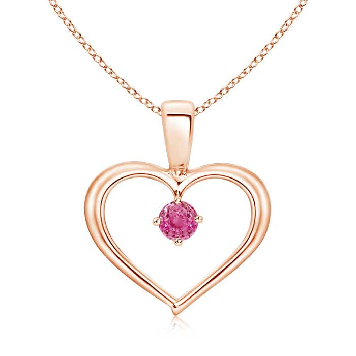Solitaire Round Pink Sapphire Open Heart Pendant - Angara.com