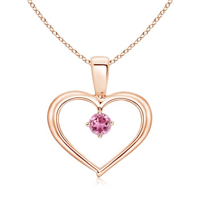 Solitaire Round Pink Tourmaline Open Heart Pendant - Angara.com