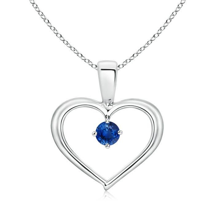 Solitaire Round Sapphire Open Heart Pendant - Angara.com
