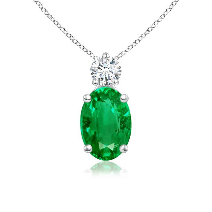 Prong-Set Oval Emerald Solitaire Pendant with Diamond - Angara.com