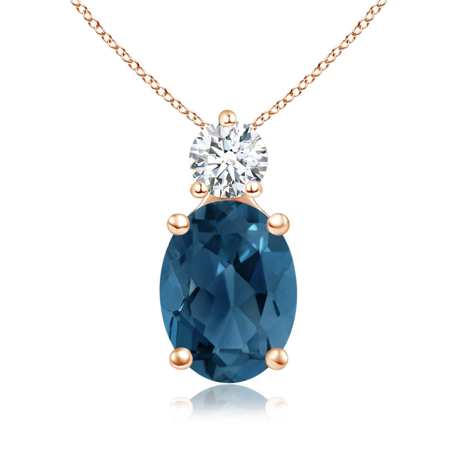Angara Solitaire London Blue Topaz Necklace for Women in White Gold