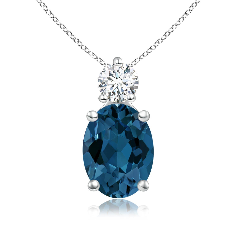 Angara Oval London Blue Topaz Solitaire Pendant with Diamond 84JrI