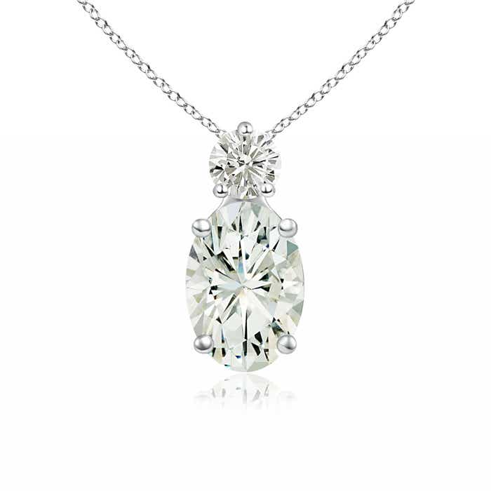 Prong-Set Oval Moissanite Solitaire Pendant - Angara.com