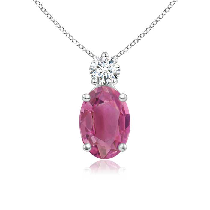 Prong-Set Oval Pink Tourmaline Solitaire Pendant with Diamond - Angara.com