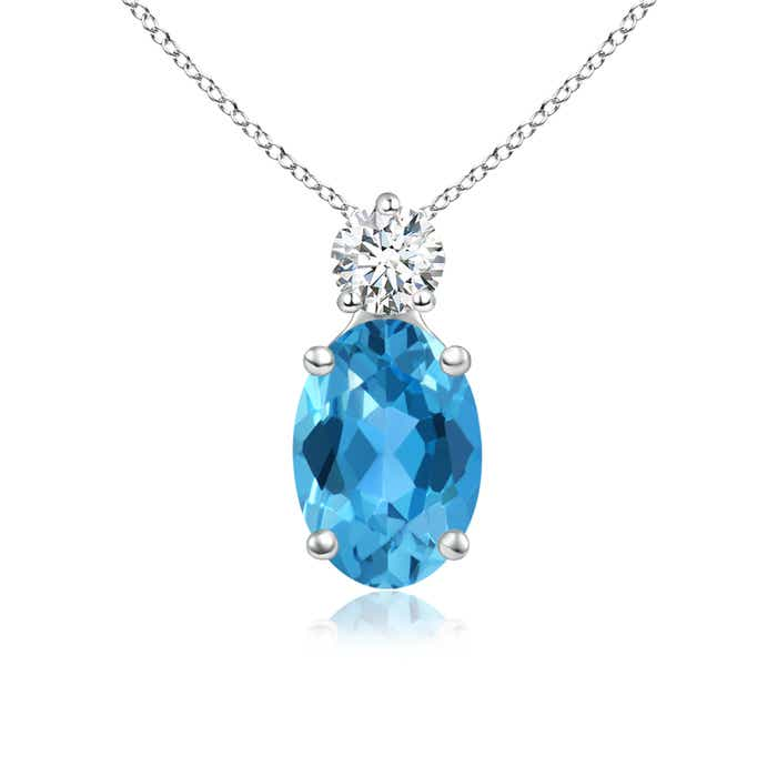 Prong-Set Oval Swiss Blue Topaz Solitaire Pendant with Diamond - Angara.com
