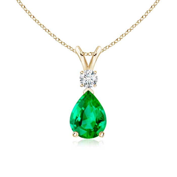 Angara Natural Emerald Knot Necklace for Women in Yellow Gold v6gn62LRLW