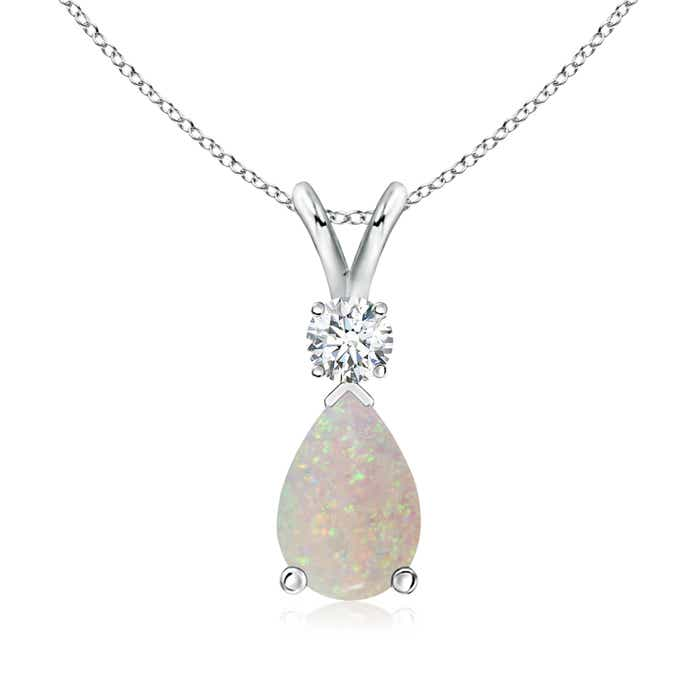 Angara Pear Opal Diamond Pendant Necklace in Platinum gkArh