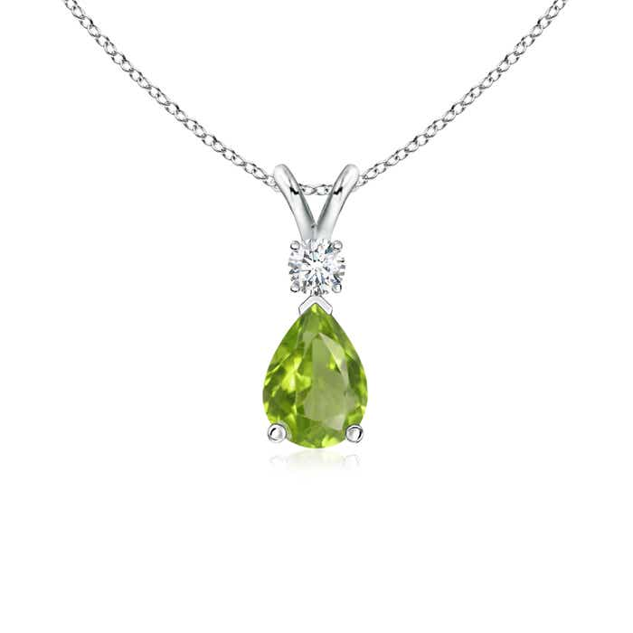 Angara Pear Peridot Teardrop Necklace with Diamond in White Gold ZF2ZbUL