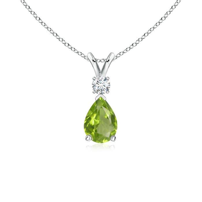 Angara Pear Teardrop Peridot Diamond Necklace in Platinum Kmpx7V