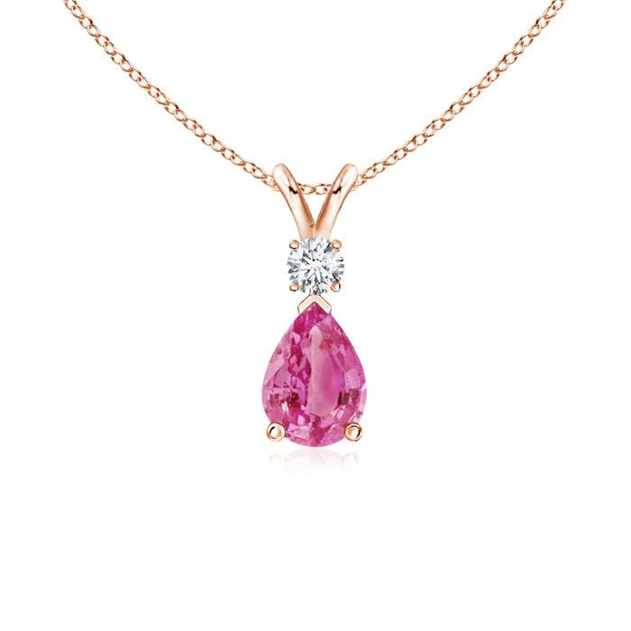 Pear Pink Sapphire Teardrop Pendant Necklace with Diamond - Angara.com