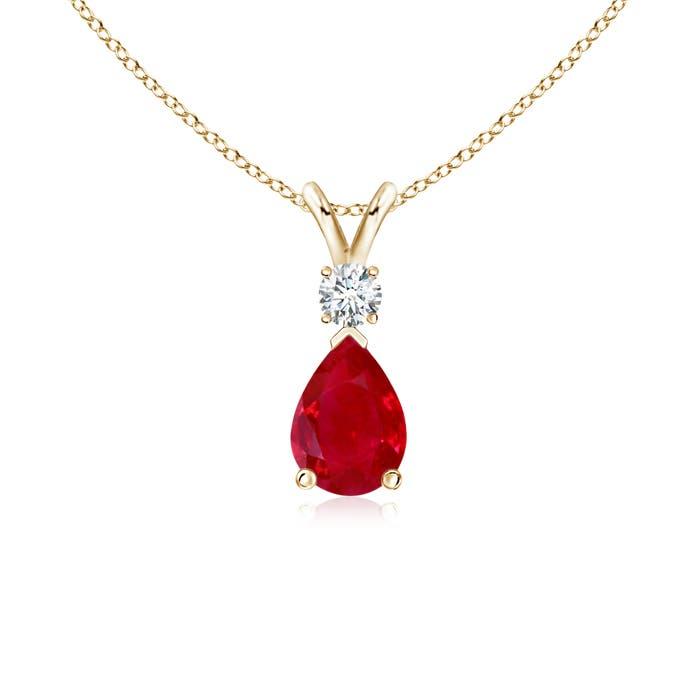 Pear Ruby Teardrop Pendant Necklace with Diamond - Angara.com
