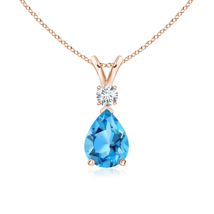 Pear Swiss Blue Topaz Teardrop Pendant Necklace with Diamond - Angara.com