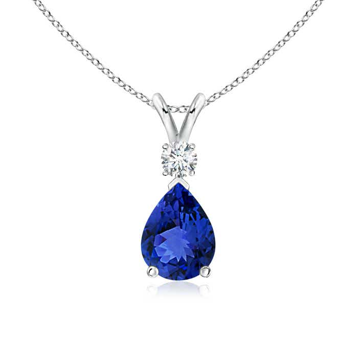 Angara Trillion Tanzanite Solitaire Pendant with Trio Diamonds in Yellow Gold 5kVYqT5kzt