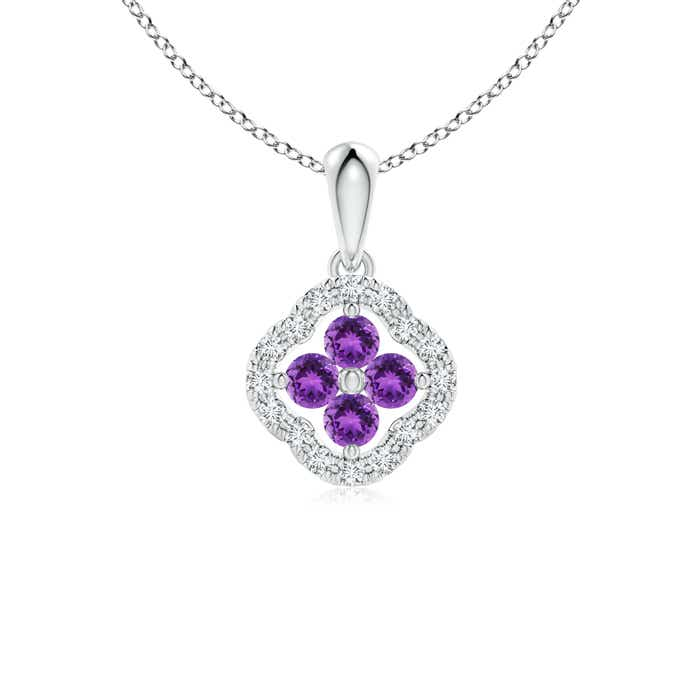 Diamond Framed Amethyst Clover Pendant Necklace - Angara.com