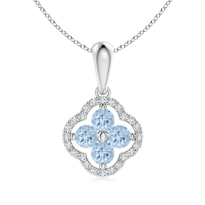 Diamond Framed Aquamarine Clover Pendant Necklace - Angara.com
