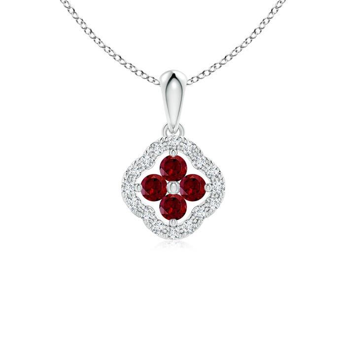 Diamond Framed Garnet Clover Pendant Necklace - Angara.com
