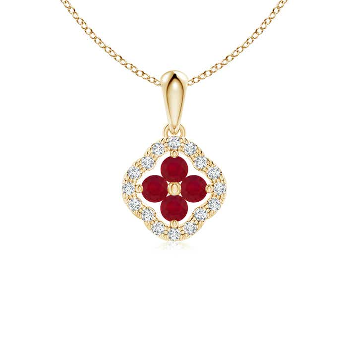 Angara Vintage Inspired Ruby Clover Pendant XK2wPC