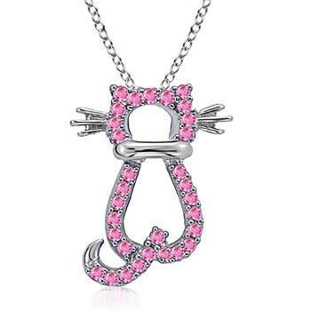 14k White Gold Pink Sapphire Hello Kitty Pendant - Angara.com