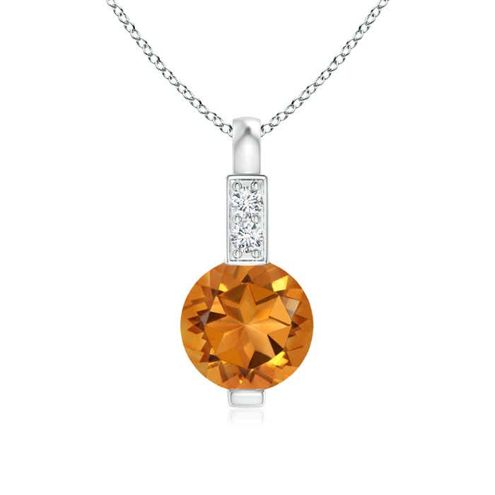 Round Citrine Solitaire Pendant with Diamond Bale - Angara.com
