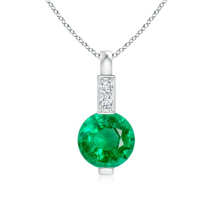 Round Emerald Solitaire Pendant with Diamond Bale - Angara.com