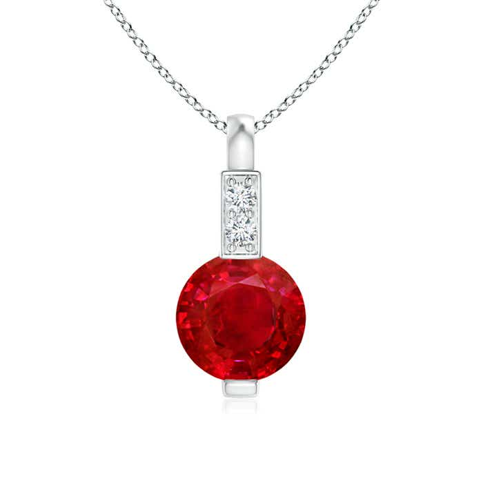 Angara Solitaire Round Ruby Pendant with Diamond Bale CEWwS