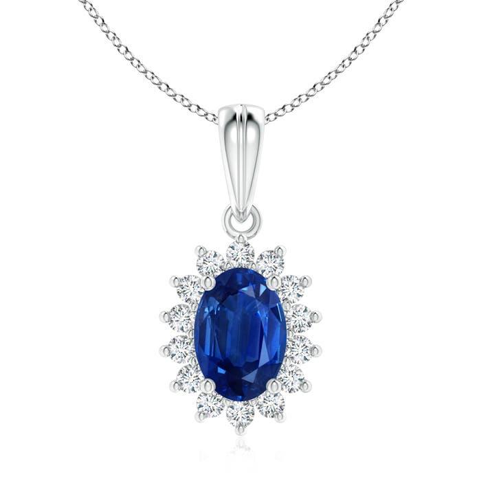 Floral Diamond Halo Oval Blue Sapphire Pendant Necklace - Angara.com