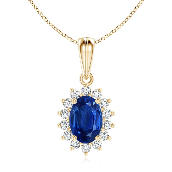 Angara Oval Blue Sapphire and Diamond Floral Halo Pendant in Platinum S1FwkFu