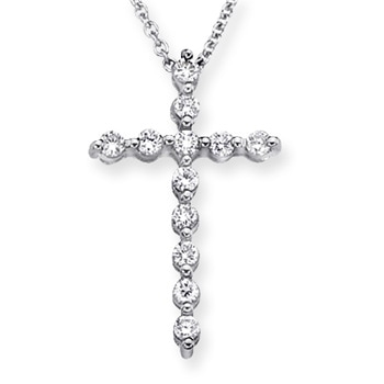 Round Diamond Cross Pendant Necklace - Angara.com