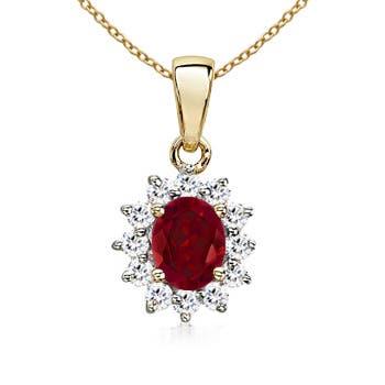 14k Yellow Gold Oval Garnet And Diamond Pendant - Angara.com
