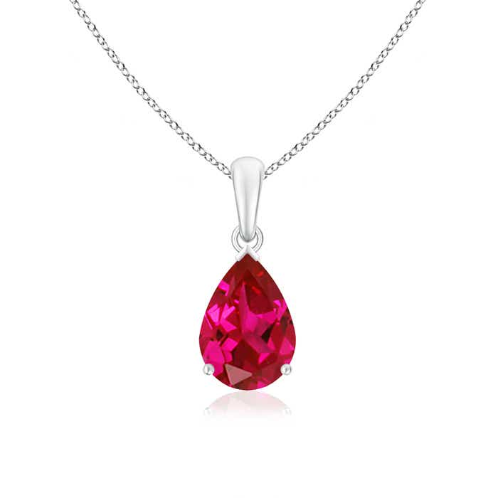 Pear Shaped Lab Created Ruby Solitaire Pendant - Angara.com