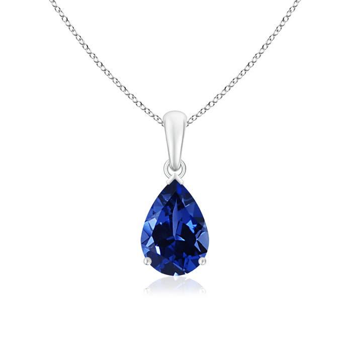 Pear Shaped Lab Created Blue Sapphire Solitaire Pendant - Angara.com