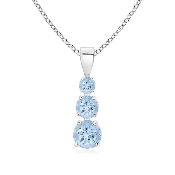 Angara Aquamarine Journey Necklace in White Gold Ug7ELdyBW