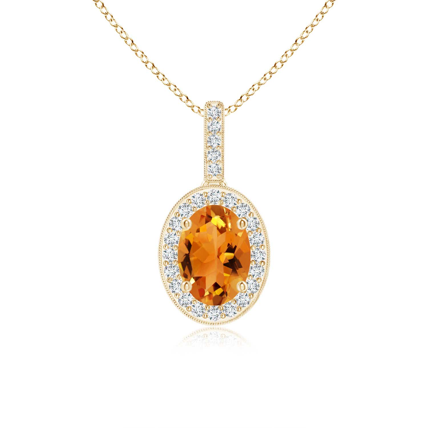 Angara Natural Citrine Necklace in White Gold L00xAgfJ