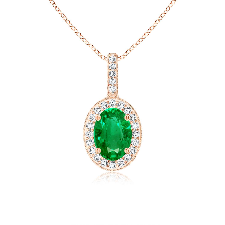 Vintage Oval Emerald Pendant Necklace with Diamond Halo - Angara.com