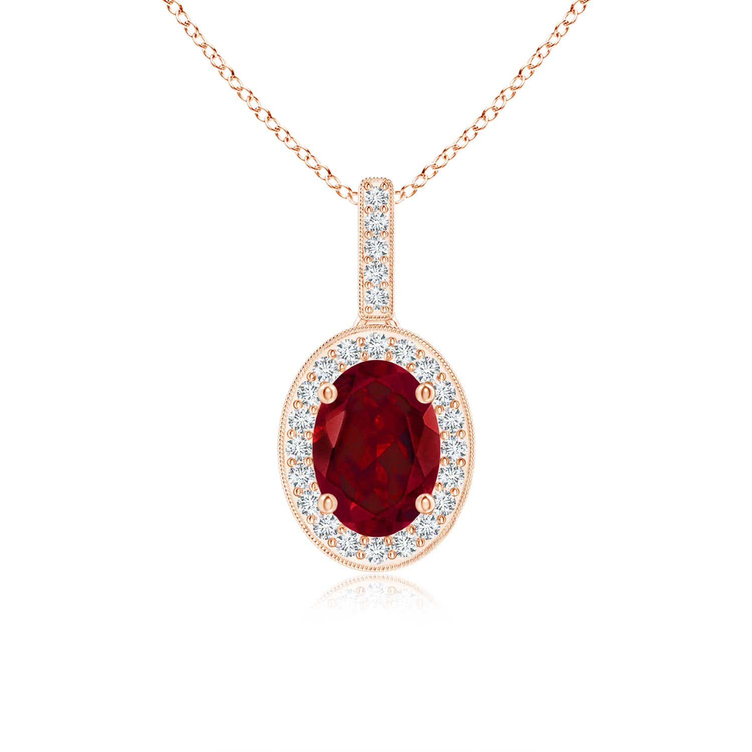 Angara Natural Garnet Necklace in Yellow Gold 6Ve3upr
