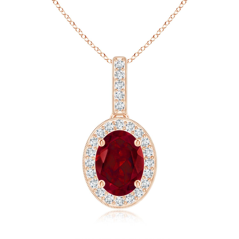 Vintage Oval Garnet Pendant Necklace with Diamond Halo - Angara.com