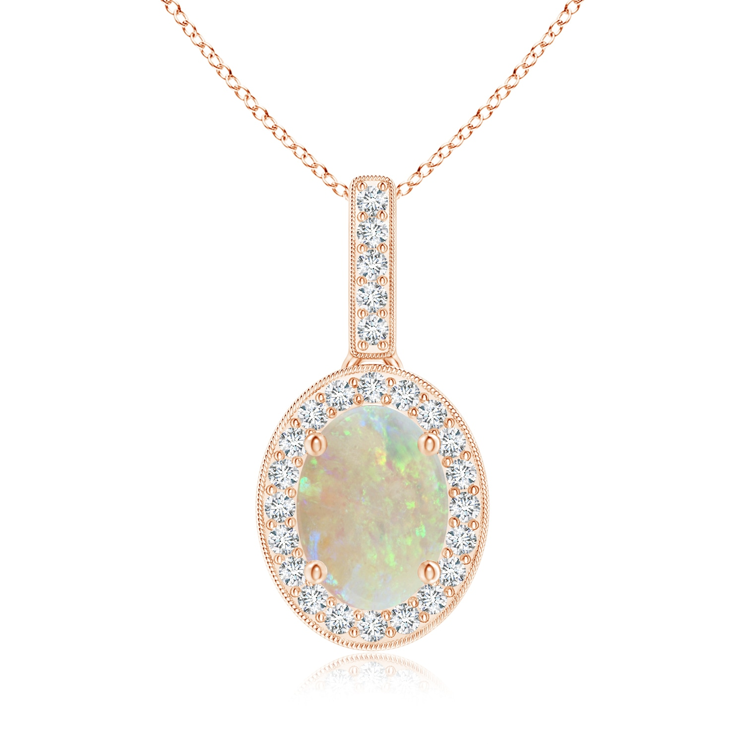 Angara Scalloped Frame Oval Opal and Diamond Halo Pendant