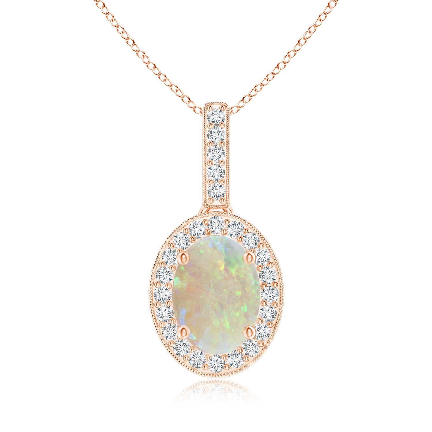 Angara Scalloped Frame Oval Opal and Diamond Halo Pendant ey158BCF4e