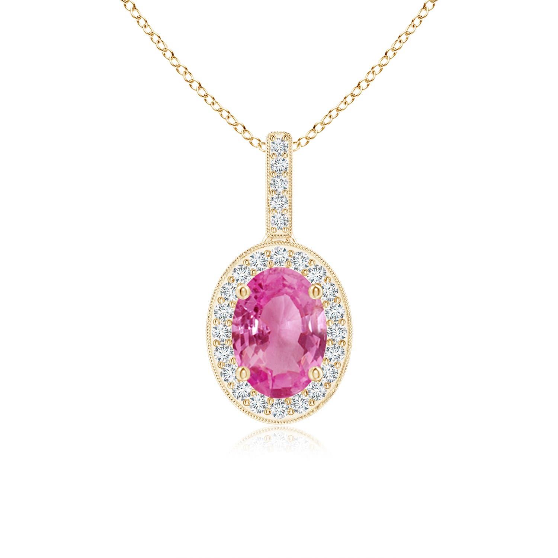 Angara Round Pink Sapphire Dangle Pendant with Diamond Halo xIF4d2zj