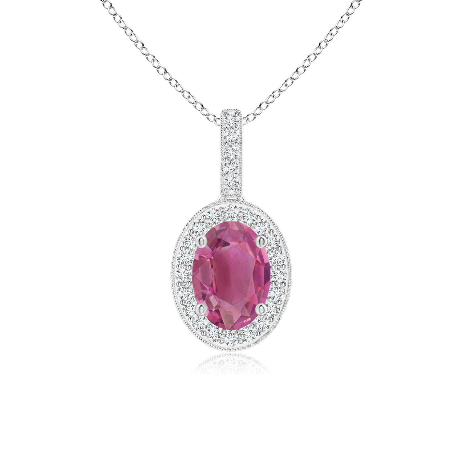 Angara Natural Pink Tourmaline Solitaire Necklace in Platinum C7YOM3XS