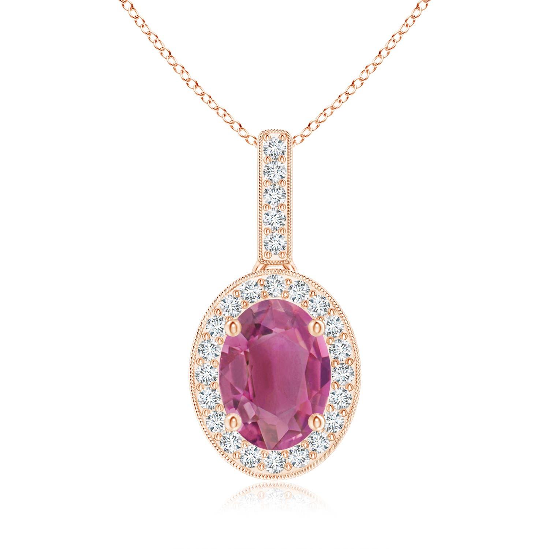 Vintage Oval Pink Tourmaline Pendant Necklace with Diamond Halo - Angara.com