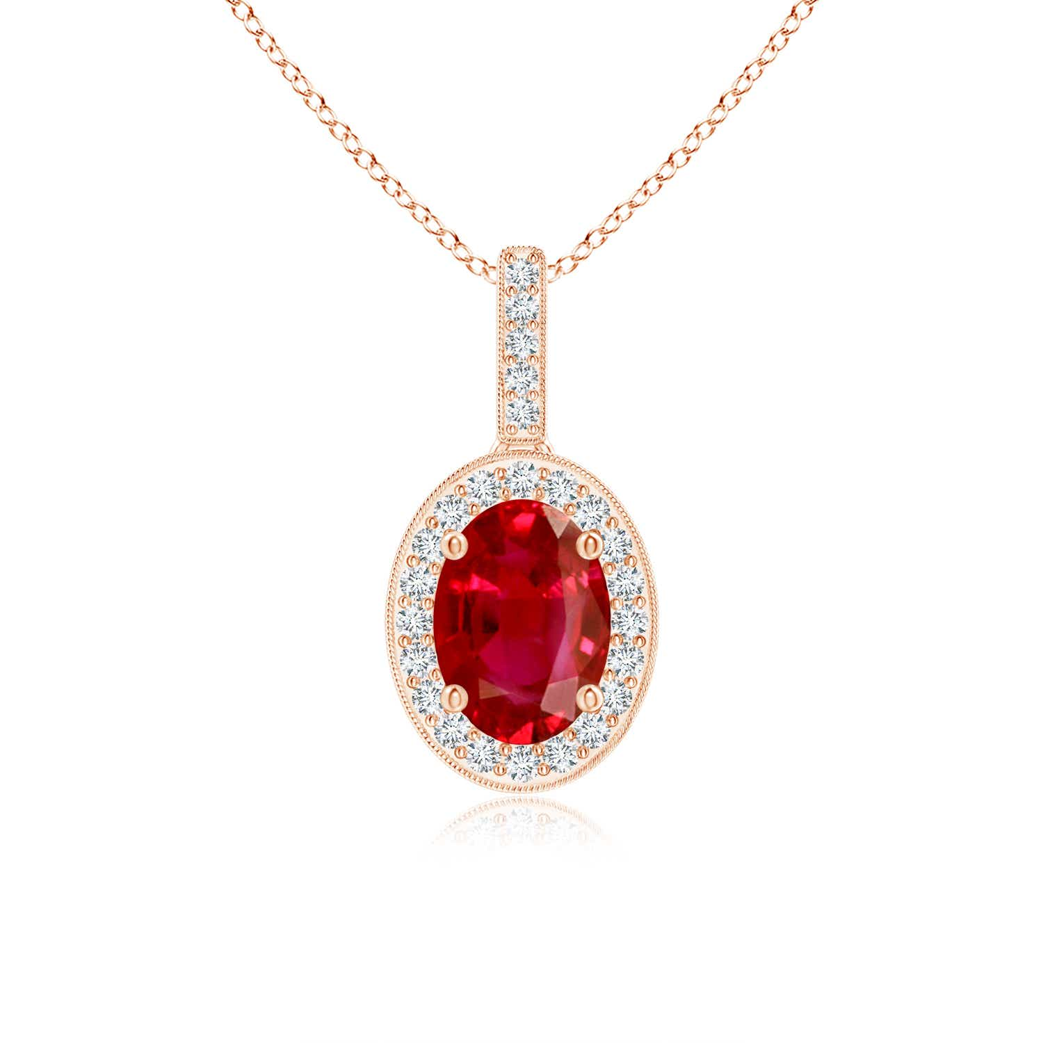 Angara Floating Ruby Heart Pendant with Diamond Halo QghvfZ7rG